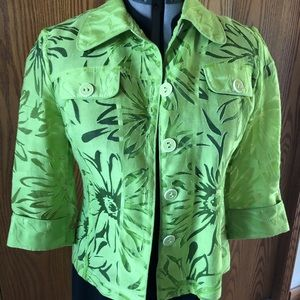 Joseph Ribkoff Sheer Lime Blouse